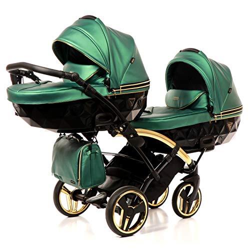 Cochecito para gemelos Twin JUNAMA DUO SLIM FLUO LINE (verde fluorescente 02, 3 en 1)