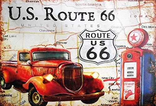 Schatmix Auto US Route 66 stacja paliwowa metalowa tabliczka dekoracja ścienna 20 x 30 cm tin sign blaszana tabliczka, blacha, wielokolorowa