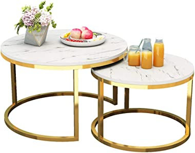 Modern Style Compact Nesting Tables or End Side Tables Set of 2 Coffee Tables with Marble Pattern MDF Tabletop & Gold Steel F