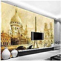 Wkxzz 壁画 壁紙 壁の装飾画カスタム3D写真壁紙エッフェル塔建築大壁画リビングルームソファ研究壁装飾壁画壁紙-250X175Cm