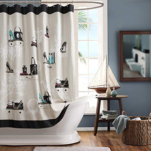 """SDLIVING Fashionista Polyester Fabric Shower Curtain,Printed Black and Cream Shower Curtains for Bathroom,Waterproof Bathroom Curtains,72"""" W x 72"""" H"""