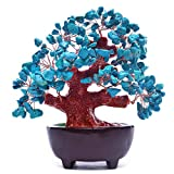 HapiLeap Árbol de Dinero, Gemas Feng Shui Adornos de árbol de Cristal curativo Figuras de árbol, ágata de geoda de Cuarzo Soporte para Oficina, Sala de Estar, decoración de Buena Suerte (Azul)