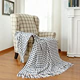 Decorative Woven Navy White Plaid Throw Blanket, Soft Dark Blue Cross Knitted Chenille Blanket with Tassels for Farmhouse Boho Décor, 50' x 60'