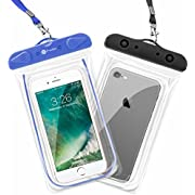 Waterproof Case, F-color 2 Pack Clear Waterproof Pouch Floating Universal Dry Case Beach Bag for iPhone 6 6S Plus 5S 5 5C,Samsung,Galaxy S8 S7, Google Pixel XL, HTC, LG,OnePlus 3, Blue Black