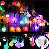 Lichterkette Kugeln Bunt, Außen Globe Lichterketten mit Stecker 33Ft 100 LED 8 Modi mit Fernbedienung für Schlafzimmer Innen-, Garten-,...