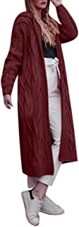 Sunhusing Autumn Winter Women's Hooded Thick Knit Cardigan Long Trench Coat Twist Pattern Sweater Coat Outwear