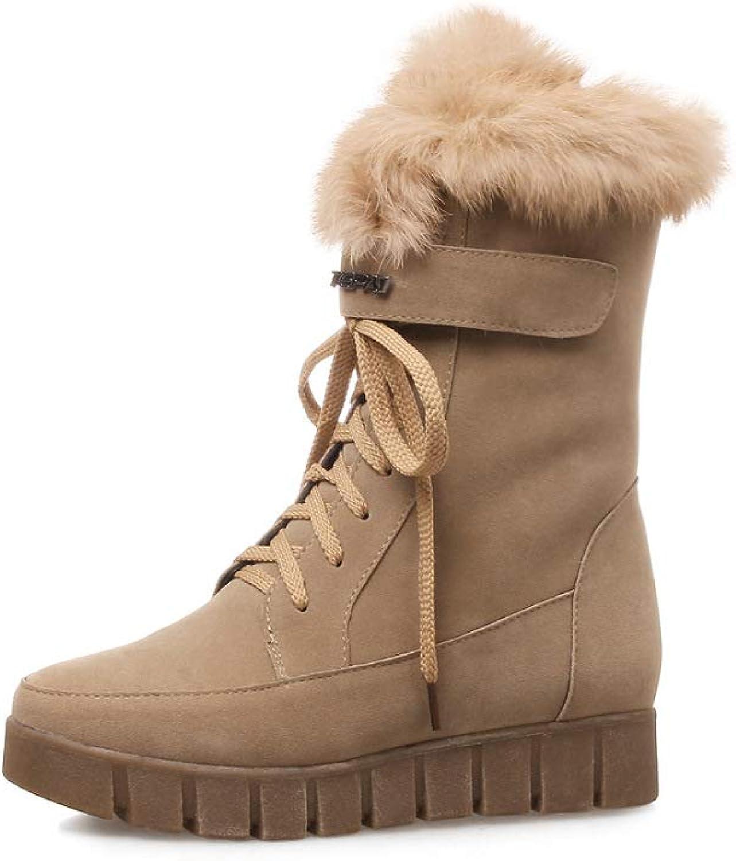 Women Fashion Suede Snow Boots 2018 Winter New Casual Plush Platform Cotton Boots Large Size 40-43