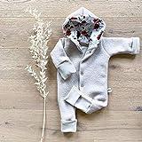 Wollwalk Overall Sand - Rosenwiese mit Kapuze und umklappbarer Arm- und Beinbündchen - Baby Mädchen Winter