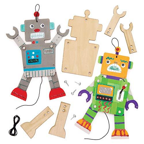 """Baker Ross Bastelsets Holzfiguren """"Roboter"""" (4 Stück) – bewegliche Puppe mit beweglichen Armen und Beinen für Kinder zum Gestalten"""