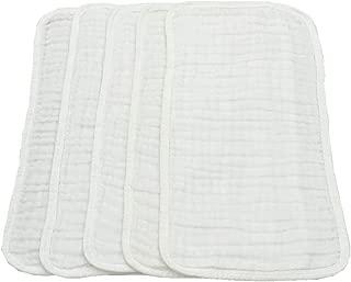 Muslin Burp Cloths, 5 Pack, 100% Cotton, Soft, White, Large 20