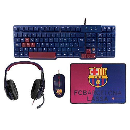 MARSGAMING Mars Gaming BLBC3, Pack Gaming FC Barcelona Teclado, Ratón, Cascos y Alfombrilla