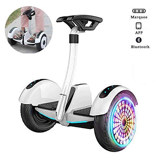 Hoverboard Patinete Eléctrico Auto Equilibrio Hover Scooter Board con LED Flash Potente Batería De Litio, Bluetooth, Self Balancing, Regalo para Niños Y Adultos,Blanco
