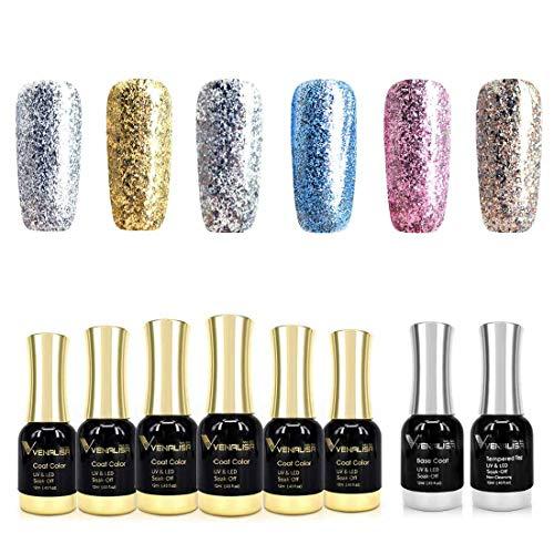8 PCS 12ML Gel Nail Polish Kit with Base and Top Coat - Neon Silver Gold Pink Glitter Color Gel Nail Polish Set Soak Off UV LED Nail Art Manicure Salon