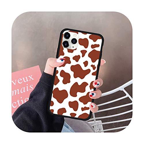 uulalala - Funda rígida de silicona para iPhone 12 11 Pro XS MAX 7 SE20 XR X 8 6Plus color morado con diseño de vaca