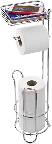 InterDesign Classico Free Standing Metal Toilet Roll Holder, Silver