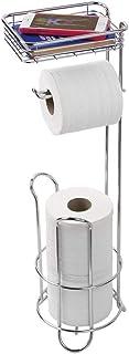iDesign Toiletpapierhouder met legplank, smalle toiletpapierhouder, staand van metaal, vrijstaande toiletpapierstandaard v...
