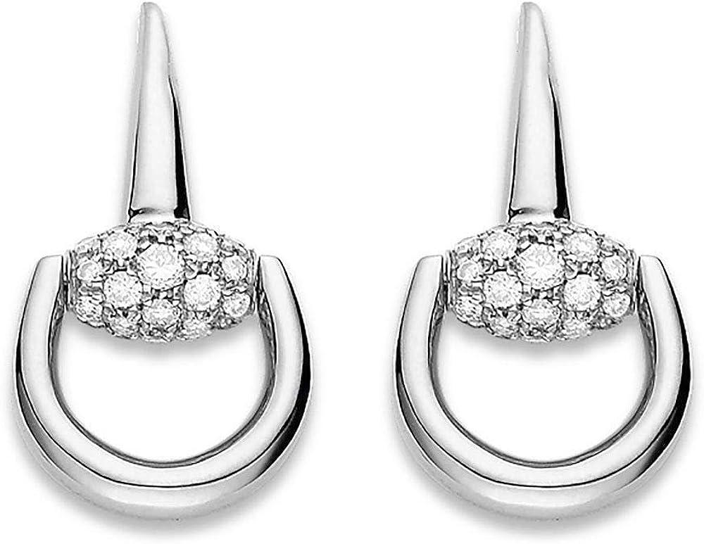 Gucci orecchini horsebit donna oro bianco diamanti pendenti YBD35699700