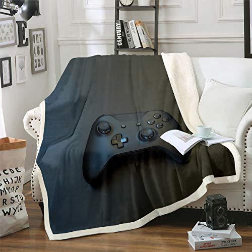 Manta de forro polar de franela para juegos, decoración del hogar, cálida para niños, videojuegos, acogedores y suaves mantas para silla/cama/sofá/sofá, 3D negro Gamepad King 221 x 241 cm