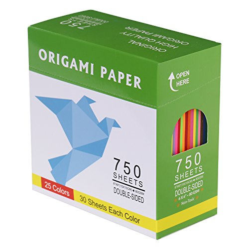 DOURA Origami Paper 750 Sheets Economy Pack with Storage -80gsm- 6 inch Square Sheet - 25 Vivid Colors for Gifts
