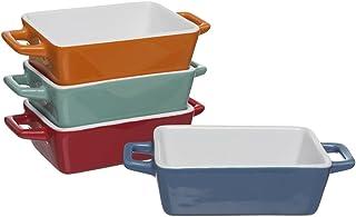 Set de 4 mini fuentes para horno, de la marca Invero, de colores, ideales para lasañas, pasteles, tapas y más