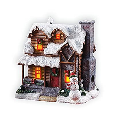 Winter Country Cabin with Snowman Polyresin Sculpture