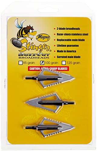 Magnus SBC100-2 Stinger Buzzcut 2 Blade Broadhead Arrow 100-Grain,(Pack of 3)