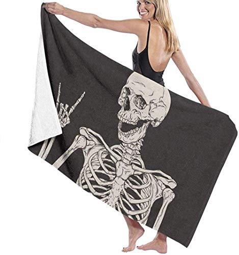 Toalla De Playa Toallas Baño,Rock Skull Bone, Impresión 3D Toallas De Viaje Absorbentes Suaves Y Ligeras Toalla De Baño Deportiva para Piscina Yoga 80X130Cm