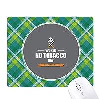 ロゴ世界なしtobacoo日禁煙 緑の格子のピクセルゴムのマウスパッド