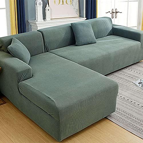 Unmbo Spandex Sofabezug 5 Sitzer, L Form Kissenbezüge, Stretch Sofa Schonbezug Ersatz Anti-Slip Furniture Protector-3 sitzer+4 sitzer-H