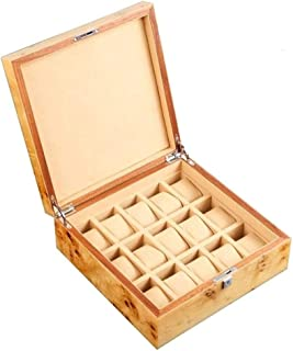 HEMFV Watch Cabinets & Cases Men's Watches Box Storage 15 Slots Wooden Jewelry Boxes & Organizers (Color : B)