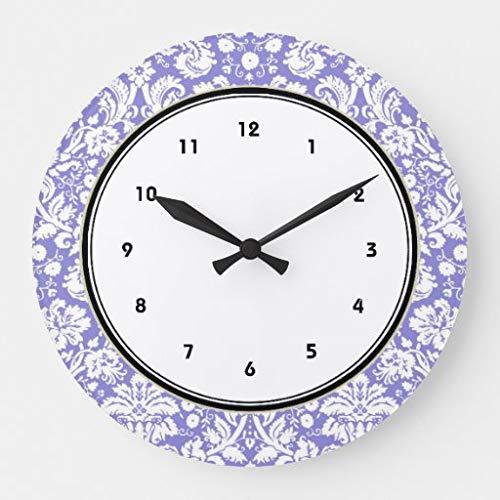 Scott397House Reloj de Pared para decoración de Sala de Estar, Redondo, silencioso, de Madera, Funciona con Pilas, 38 cm, diseño de Damasco Morado y Morado