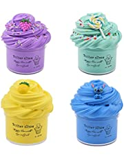Luclay Fluffy Slime Putty Slime, 4 Paquetes Kit de Limo de Mantequilla Suave Juguetes para aliviar el estrés para niños Adolescentes Adultos para aliviar el estrés, Ejercicios de Manos y Dedos