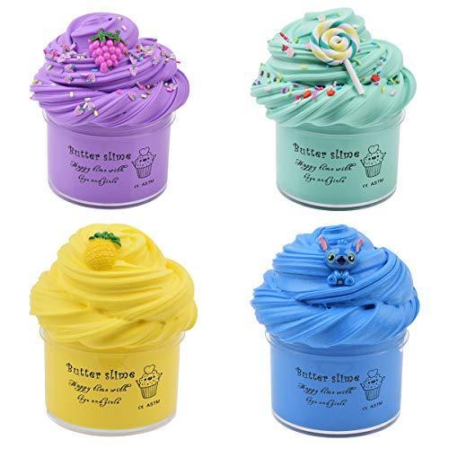 Luclay Fluffy Slime Regali per Bambini in Stucco per Bambini, 4 Pezzi 120 ML Floam Slime Fai da Te con 4 Colori Fluffy Slime Fluffy Slime