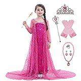 YOSICIL Disfraz Elsa Frozen Disfraz Princesa Elsa niña Fancy Dress Brillante Traje Cosplay Cumpleaños Halloween Navidad con 6pcs Accesorios 2 3 4 5 6 7 8 año