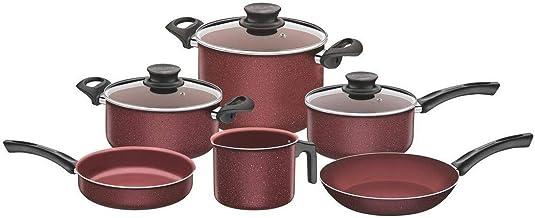 Tramontina 9 Pcs Cookware Set, Internal & external Non-Stick coating with Big Stock Pot (26 cm - 9.60 Lts) for large meals...