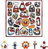 Naler 24 Mini Figuras de Madera de Navidad para Colgar en Árbol de Navidad...