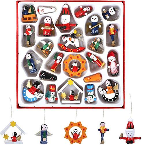 Naler 24 Mini Figuras de Madera de Navidad para Colgar en Árbol de Navidad Decoración con Caja Regalo