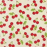 Cremefarbenes Wachstuch mit roten Kirschen von Stof France