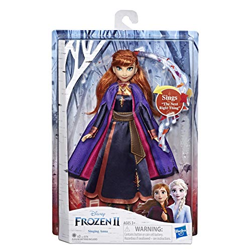 Hasbro Frozen Hasbro Disney Anna Cantante Bambola Elettronica con Abito Viola, Ispirato al Film Frozen 2, Multicolore, E6853IC0