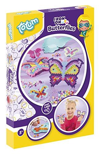 Totum Creativity Bastel-Set, Bügelperlen Schmetterlinge mit Bügelperlschablone und über 1500 Bügelperlen