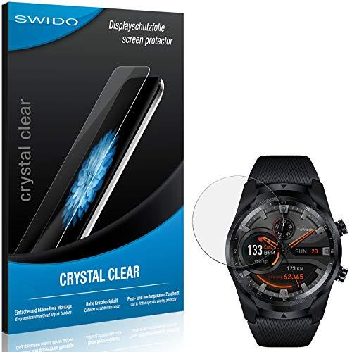 SWIDO Schutzfolie für Mobvoi Ticwatch Pro 4G LTE [2 Stück] Kristall-Klar, Hoher Festigkeitgrad, Schutz vor Öl, Staub & Kratzer/Glasfolie, Bildschirmschutz, Bildschirmschutzfolie, Panzerglas-Folie