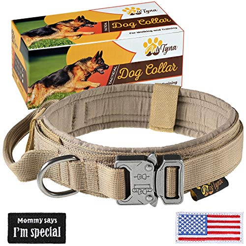 Tactical Dog Collar – Military K9 Dog Collar – Adjustable Dog Collar with Handle – Training and Service Dog Collar for German Shepherd (L, Brown)
