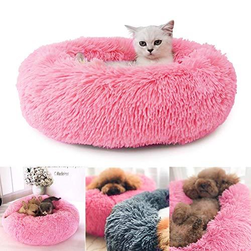 Cama de Felpa para Mascotas Perros Gatos, Cama Calmante Redonda, 50CM Cojín Suave Cómodo Lavable para Gatos Perros Pequeños y Medianos (Rosa)