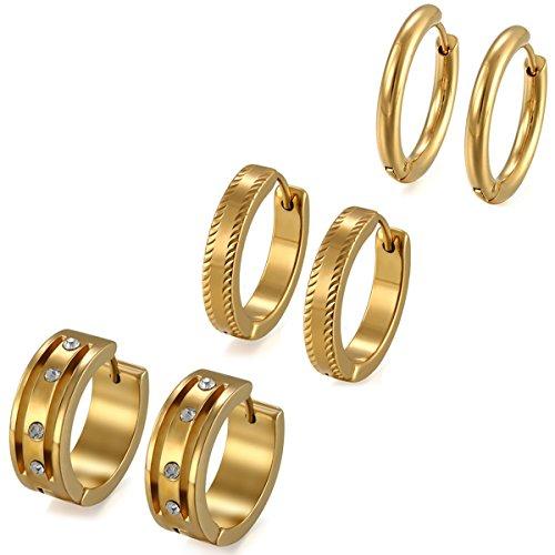 Aroncent Pendientes de Aro de Acero Inoxidable Quirúrgico Aretes de Perno con Diamantes Artificiales para Oído Agujeros Joyería de Cuerpo para Hombre Mujer Unisex Oro Dorado – 3Pares (6PCS)