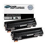 TonerPlusUSA Compatible HP 85A CE285A CB435A CB436A CRG125 Toner Cartridge – CB 435A CB 436A CE 285A CRG 125 High Yield Toner Cartridge Replacement for HP Laser Printer – Black (2 Pack)