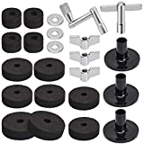 Facmogu 23PCS Cymbal Replacement Accessories, Cymbal Stand Felts, Drum Cymbal Felt Pads Include Wing Nuts, Washers, Cymbal Sleeves & Drum Key - Black