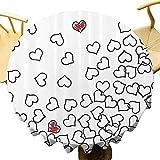 Decoración de la casa mantel redondo decorativo formas de corazón amor usted nupcial boda él y ella tema de San Valentín paño rápido negro blanco rojo diámetro 63 pulgadas