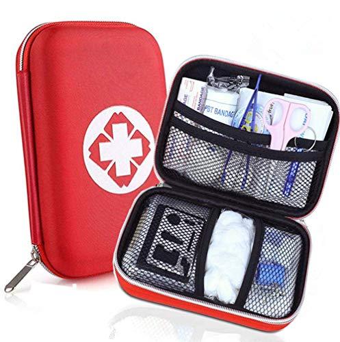 Erste Hilfe Set - Perfekt für Wandern, Outdoor, Fahrrad, Sport und Reisen - First Aid Kit und Reiseapotheke mit BONUS Notfall Trillerpfeife, 18 Stück in Roter Halbharte Tasche