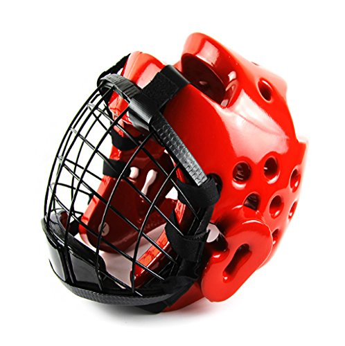 Sale!! Mask Helmet Childrens Taekwondo Headguard Closed Mask Karate Helmet ( Color : Red , Size : M ...