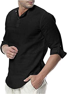 Mens Linen Henley Shirt Loose Fit Roll Up Long Sleeve Casual Solid T-Shirt